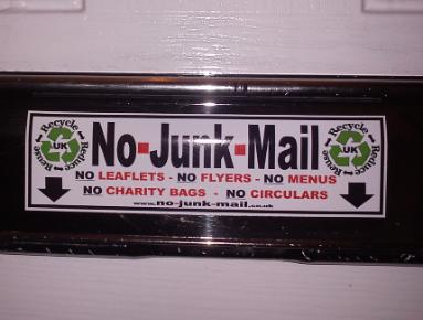 No Junk Mail Letterbox Sticker, No Junk Mail Sign, No Junk Mail Sticker.