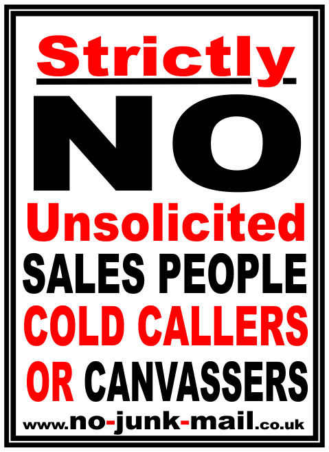 No Cold Callers Sign, No Cold Calling Sign, No Canvassers, No Sales People, No Unwanted Callers, No Cold Calling Sticker