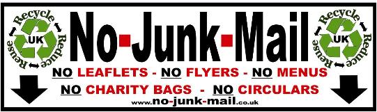 Premium No Junk Mail Sign, Vinyl Sticker